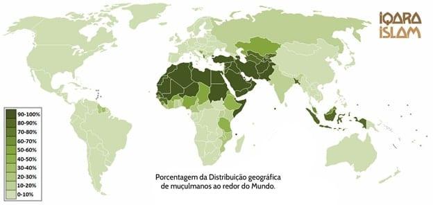 Mapa da concentração de muçulmanos no mundo