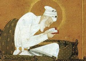 Aurangzeb lendo o Alcorão