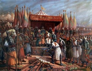 Salah al-Din vitorioso depois da Batalha de Hattin em 1187.