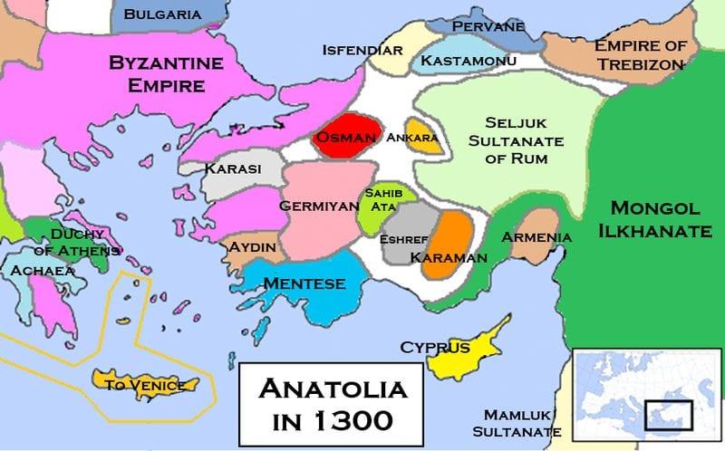 Os beyliks da Anatólia por volta do ano 1300, com beylik (território) de Osman em vermelho.