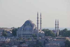 A Mesquita Suleymaniye vista da Torre Galata