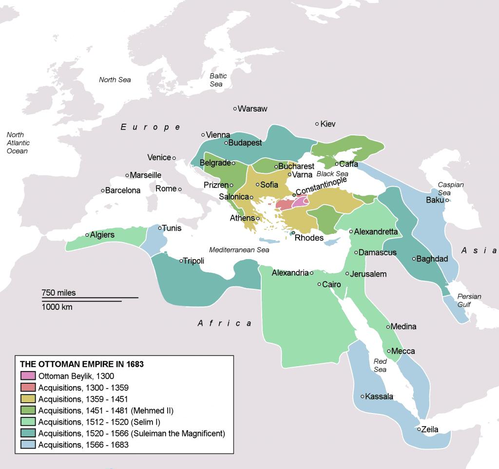 Um mapa do Império Otomano que mostra o tamanho do império durante o reinado de Suleyman.