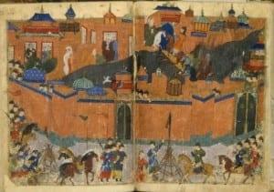 O Exército Mongol sitiando Bagdá