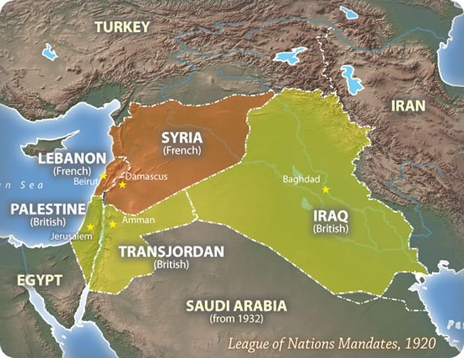 O Acordo Sykes-Picot de 1916 dividiu o Império Otomano entre os britânicos e os franceses.