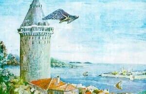 Hezarafen decolando do alto da Torre Galata, em Istambul