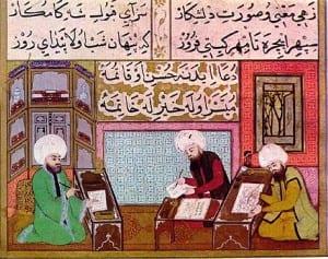 Uma miniatura do período otomano de estudantes e seu professor