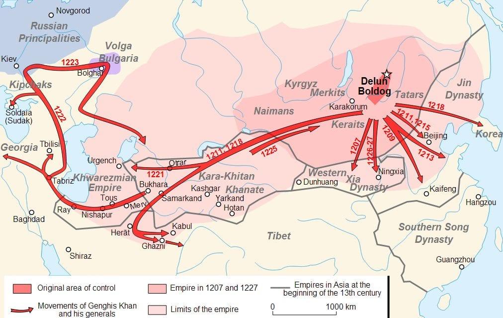 Pelos anos 1220, os exércitos de Genghis Khan tinham devastado grande parte da Ásia e até mesmo da Europa