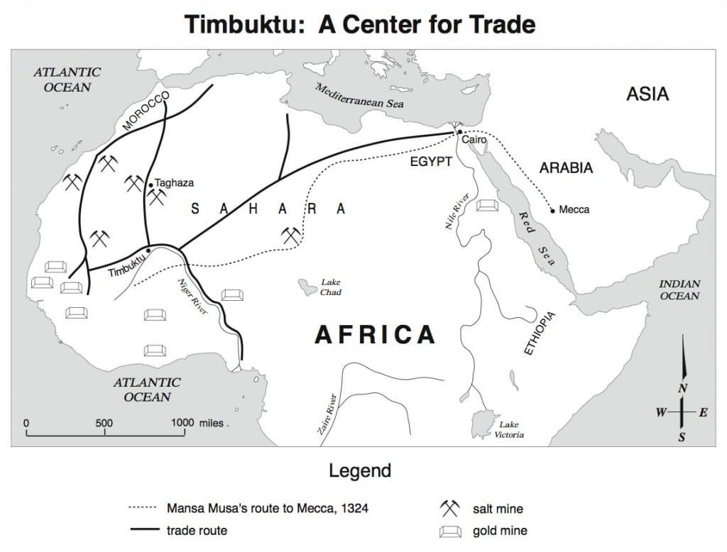Mapa de África que mostra as rotas comerciais que trouxeram o Islam para a região