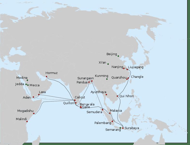 Um mapa que mostra as rotas tomadas por Zheng He em suas sete expedições nos anos 1400