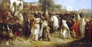 As tropas francesas chegando em Beirute em 1860