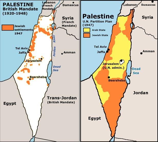 O mapa da esquerda mostra as áreas de maioria judaica no mandato da Palestina. A direita do mapa ilustra o Plano de Partilha da ONU.