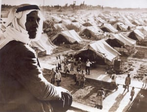 Um campo de refugiados palestinos em 1948 perto de Damasco, na Síria.