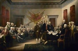A assinatura da Declaração da Independência, em 1776, na Filadélfia