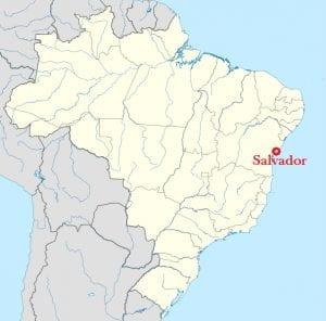 A localização da revolta, Salvador, no Brasil