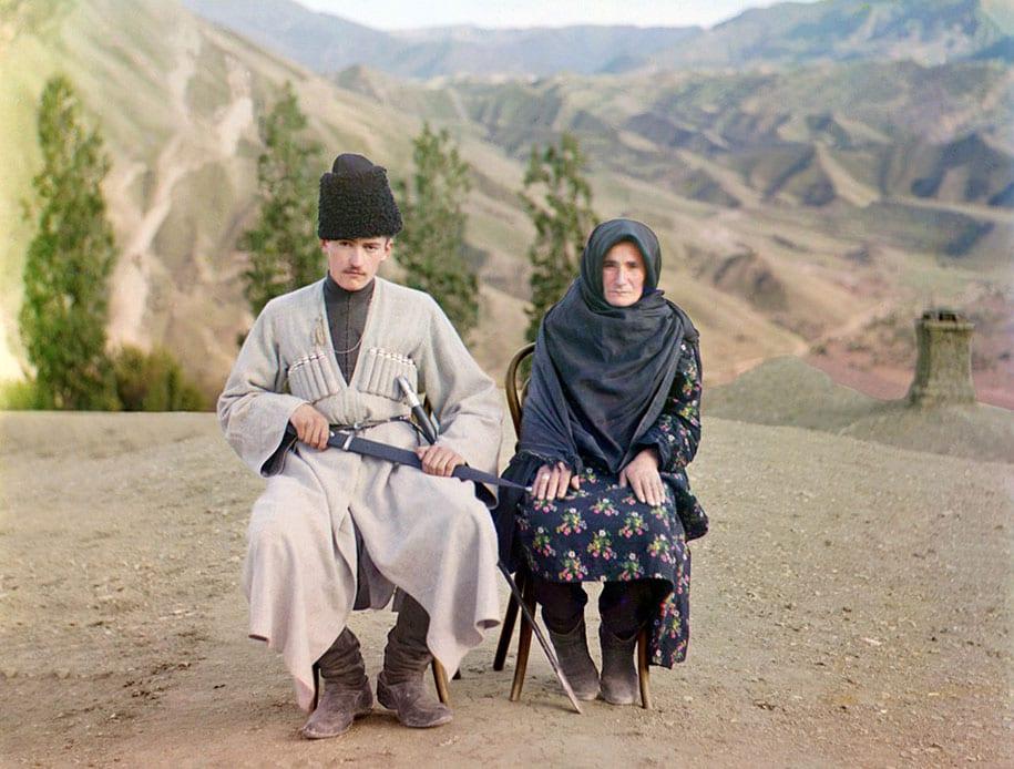 Homem e mulher muçulmana no Daguestão