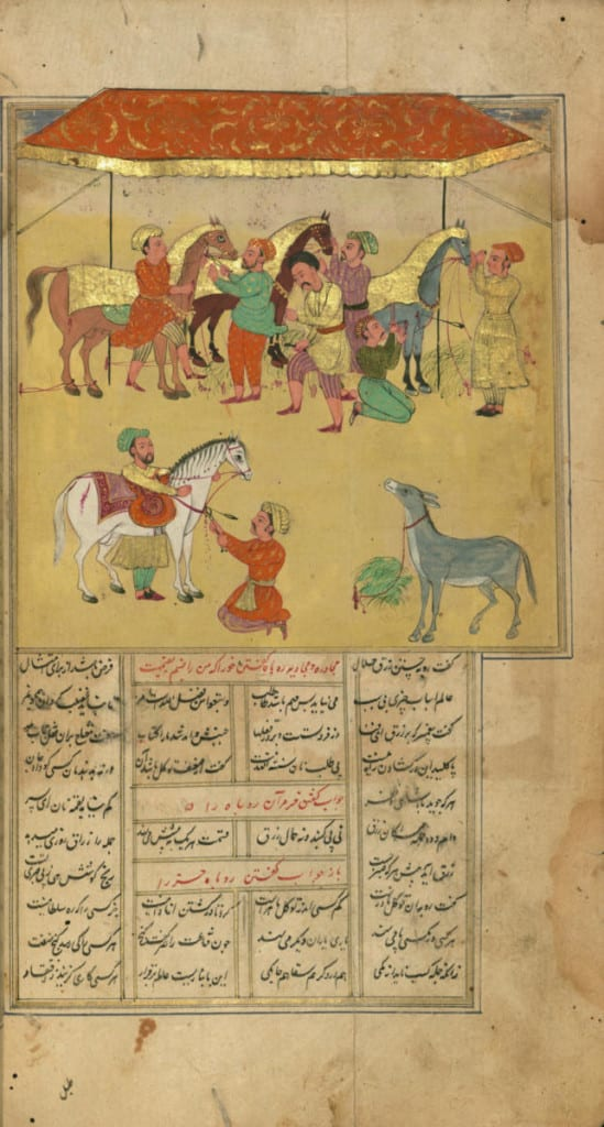 """Uma ilustração do século XVII para o poema épico de Rumi """"Masnavi"""". Rumi é muitas vezes chamado de místico, um santo, um homem iluminado. É menos freqüentemente descrito como muçulmano."""