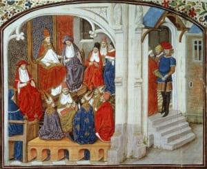 Papa Urbano II anuncia a Primeira Cruzada, manuscrito francês do século XV. Bridgman Imagens