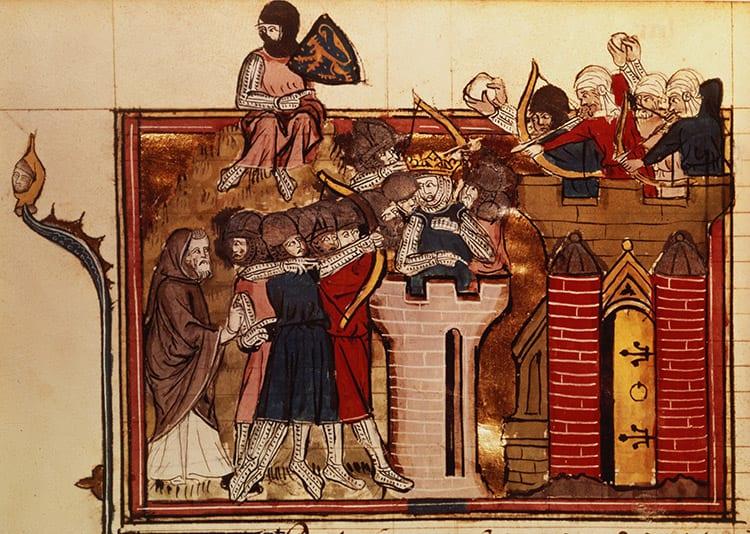 Assalto cruzado em Jerusalém, 1099, ilustração francesa do século XIV. © Bridgeman Images / Bibliothèque Nationale, Paris