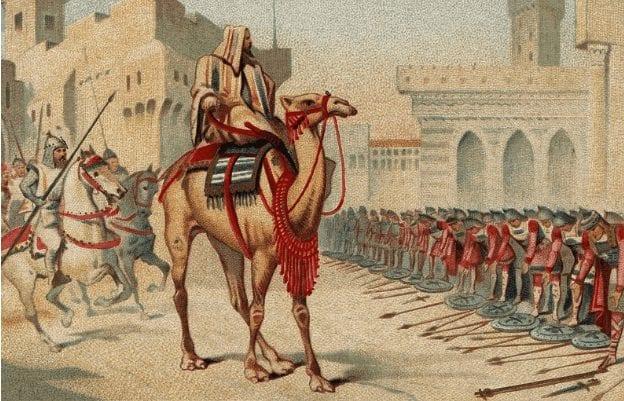 Representação de Umar Ibn Al Khatab dominando Jerusalém